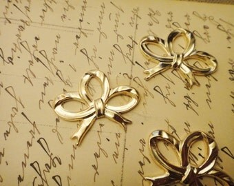 8Pcs Gold Plated Brass Bow Pendants