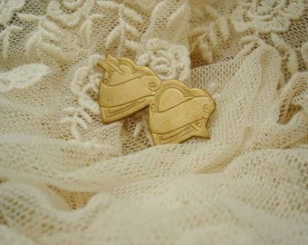6Pcs Vintage Solid Brass Two Heart Charms