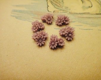 10Pcs Tiny Purple Flower Cabs