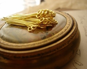 100Pcs Gold Plated Eye Pins -35mm
