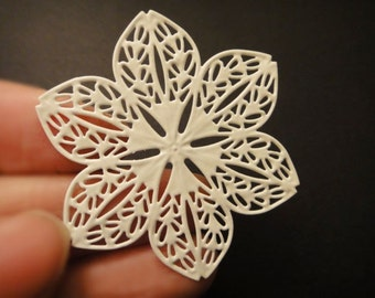 8Pcs White Plated Filigree Stampings For Resin Cabs/Flowers