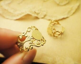 10Pcs 18K Gold Plated Filigree Rings
