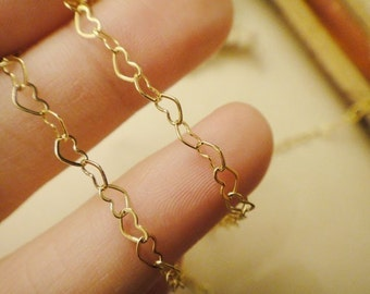 200cm delicacy 18k gold plated little heart chain