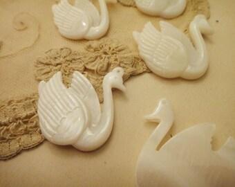 2pcs Shell Swan Charms