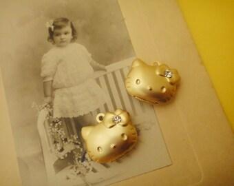 30pcs Vintage Rhinestone Hello Kitty Real Gold Plated Lockets