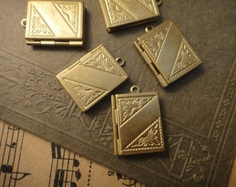 30Pcs Vintage Raw Brass Book Locket Charms