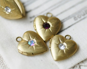 30pcs vinrage raw brass little heart lockets with rhinestones