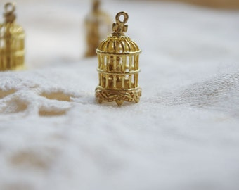 6pcs little birdcages raw brass charms
