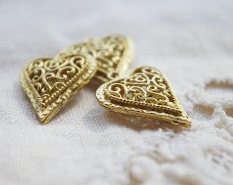 6pcs classic heart raw brass charms