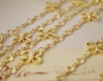 100cm Gold Plated On Brass LIttle Clover Chain