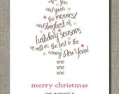 Personalized Holiday Card - Holiday Greetings Tree - Set of 12 flat cards