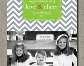 Holiday Photo Card - Set of 25 Photo Cards - Love and Cheer Chevron by Flair Designery