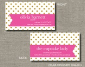 Calling Cards, Call Me Cards, Business Cards, Tags - Set of 100 - Polka Dots Are Pretty by Abigail Christine Design