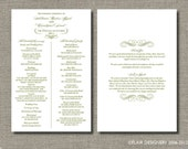 Set of 50 Double-Sided Wedding Programs - FULLY CUSTOMIZABLE - Elegant Flourish Design by Flair Designery