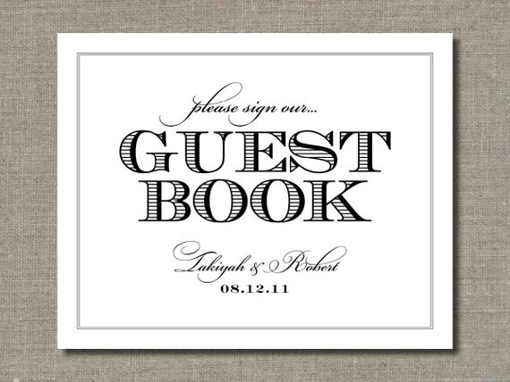 Guest Book Wedding Sign - 8 x 10 Wedding Poster, Table Sign or Guest Book Sign by Abigail Christine Design