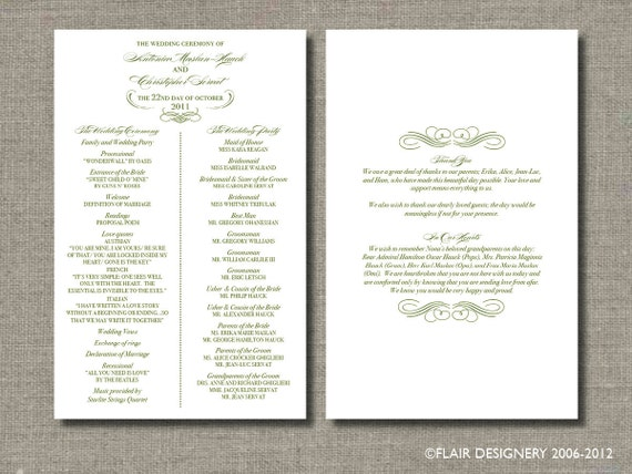 Custom Listing for drag9on - Printable Wedding Program and Menu - Elegant Flourish Design by Flair Designery