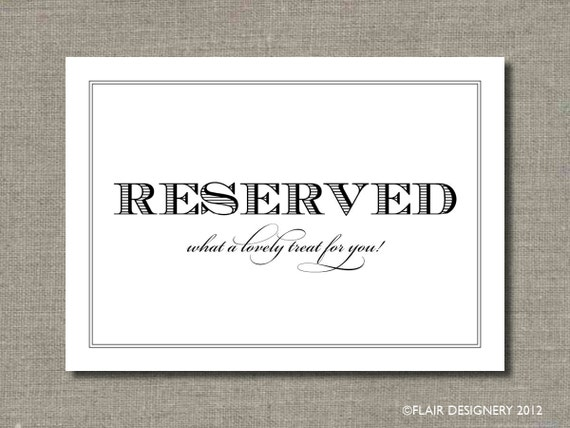 SET OF TWO - Reserved - 5 x 7 Wedding Poster or Table Sign by Abigail Christine Design