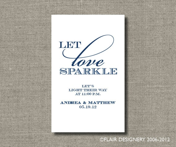 Light Their Way Wedding SPARKLER TAGS - Set of 50 - by Abigail Christine Design