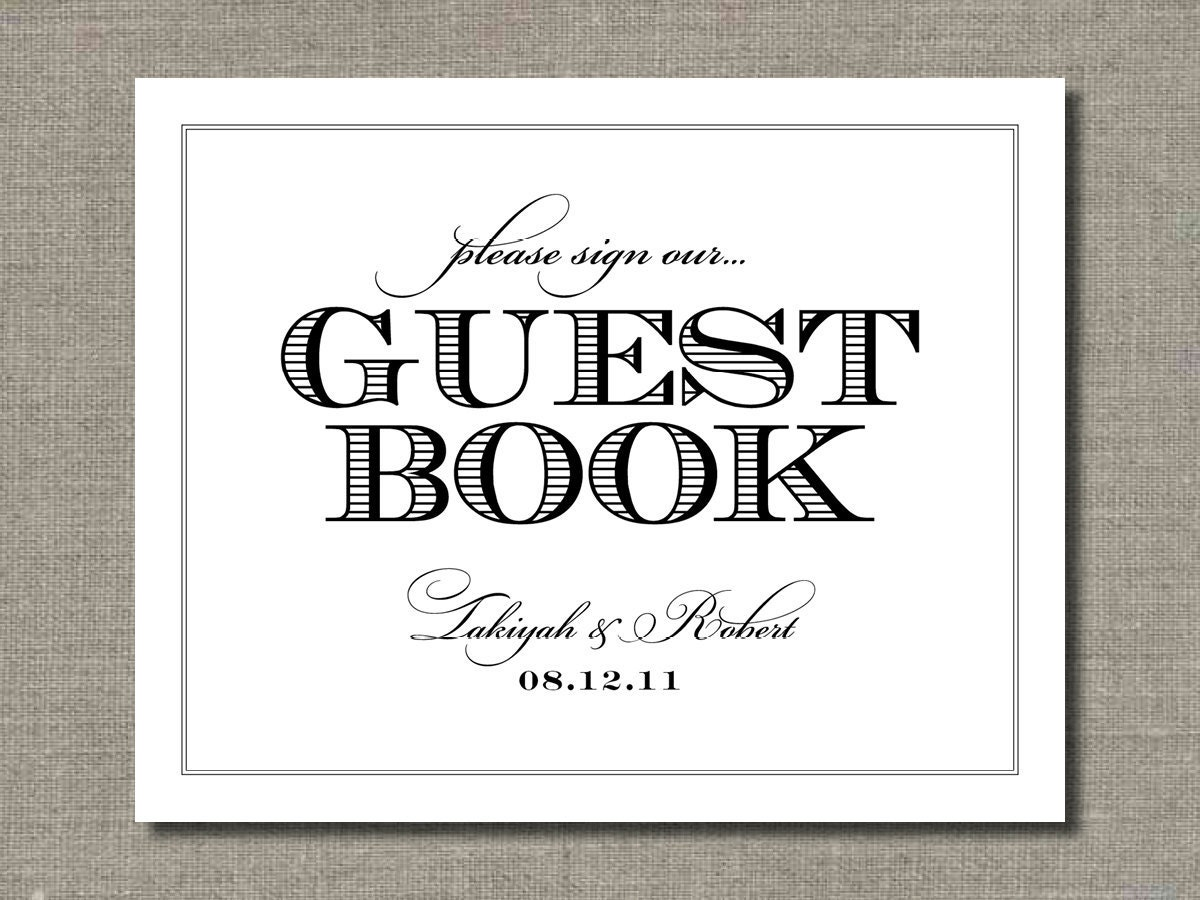 Guest Book Wedding Sign 8 X 10 Wedding Poster By