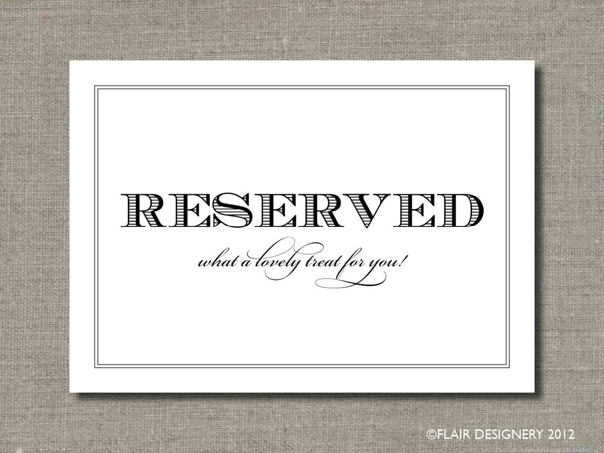 SET OF TWO Reserved 5 X 7 Wedding Poster Or By AbigailCDesign