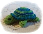 "Crocheted Bright Blue Ruffled Turtle, 6"" Long, Amigurumi"