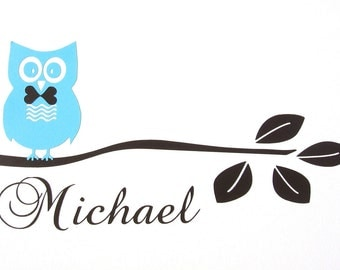 Boy Owl Sitting on Branch plus Name - Vinyl Wall Decal - Nursery - Bedroom - Children- Home Decor