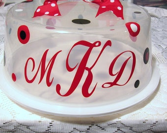 Cake/Cupcake Carrier - Personalized Vinyl Decal Stickers for Cake/Cupcake Carrier - Mongrammed - CARRIER NOT INCLUDED - Serving - Kitchen