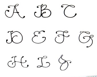 """3"""" Vinyl Decal SINGLE Letter - Personalized SINGLE Letter - Numbers - Fancy Font - Wedding - Glasses"""