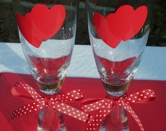 Romance, Heart Stickers,Vinyl Decal Stickers, Heart Decals,Special Party, GLASSES NOT INCLUDED,Wedding, Celebrations