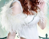STARLET  Ostrich Feather and Rhinestone Shrug in Cream, Ivory or Black
