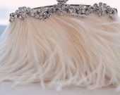 NEW STARLET Cream Feather and Rhinestone Bridal Clutch Purse