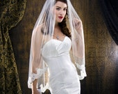 GLAMOUR Bridal Collection Ivory Lace Pearl and Rhinestone Fingertip Veil SAMPLE SALE