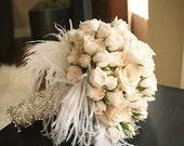 STARLET   Rhinestone and Feather Bouquet Wrap