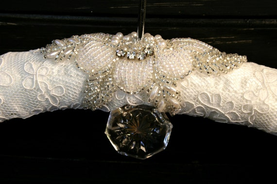 ROSE Lace and Beaded Wedding Bridal Bendable Dress Hanger