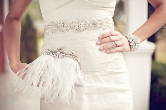 2012 Summer Avant Glam Collection Feather and Rhinestone Purse Clutch
