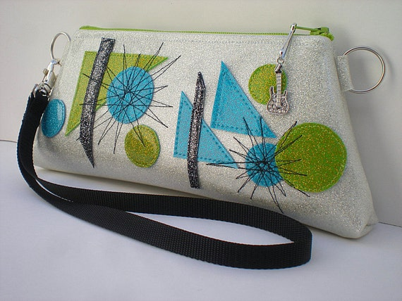 Hipster Purse, Turquoise Clutch,  Lime Green Purse, Mid Century  Art,  Bridemaids Gift, White Clutch, Sparkle Vinyl Bags,  Summer Purse
