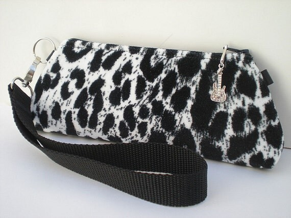 Black and White Clutch Purse, Sexy Cheetah Print Purse, Velvet Leopard Bag, Turquoise Lining,  Wristlet, Makeup Bag, Small Zipper Pouch