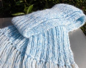 Classic/Traditional Ribbed Baby Blue & White Fringed Knit Scarf
