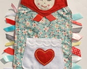 MATRYOSHKA Ribbon Tag Baby Blanket in Alexander Henry Farmdale Blossom Fabric and Red Minky Blankie Lovey Lovie Baby Gift