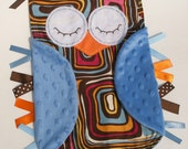 Mod OWL Ribbon Tag Baby Blanket in Geometric Squares Fabric with Blue Minky Blankie Lovey Lovie Baby Gift