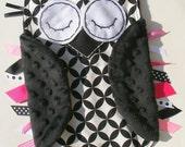 Black, White and Pink OWL Ribbon Tag Minky Baby Blanket in Alexander Henry Diamond Eye Fabric Blankie Lovey Lovie Baby Gift