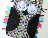 Alexander Henry Mod Dot OWL Ribbon Tag Baby Blanket with Black Minky Blankie Lovey Lovie Baby Gift