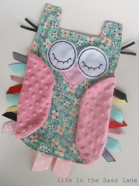 Woodland OWL Baby Blanket Alexander Henry Farmdale Blossom Aqua and Pink Floral and Minky Ribbon Tag Blankie Lovey Lovie Baby Gift