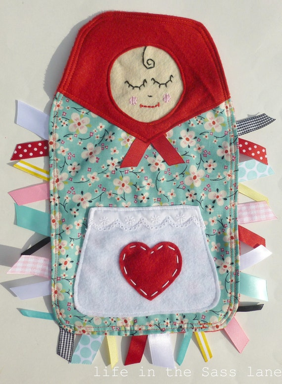 MATRYOSHKA Ribbon Tag Baby Blanket in Alexander Henry Farmdale Blossom Fabric and Red Minky Blankie Lovey Lovie Baby Gift