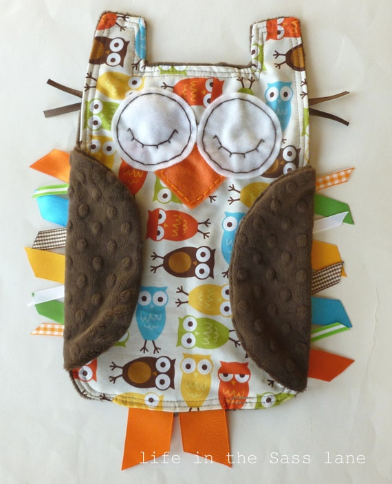 Urban Zoologie Owls Ribbon Tag Baby Blanket and Chocolate Brown Minky Blankie Lovey Lovie Baby Gift
