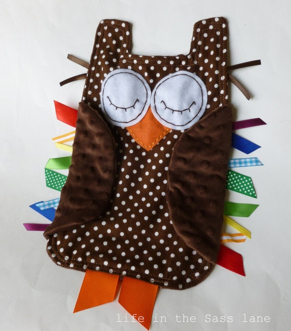 Rainbow Woodland OWL in Chocolate Brown Polka Dots Flannel and Minky Ribbon Tag Blankie Blanket Lovey Lovie Baby Gift