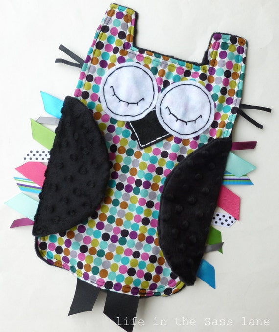 Alexander Henry Mod Dot OWL Ribbon Tag Baby Blanket with Black Minky Blankie Lovey Lovie Baby Gift