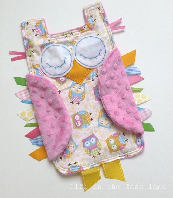 Pastel Pink OWL Ribbon Tag Baby Blanket Minky Blankie Lovey Lovie Baby Gift