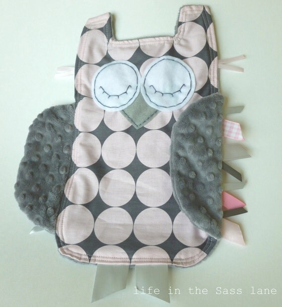 Pink Bloom and Gray Disco Dot OWL Ribbon Tag Baby Blankie in Michael Miller Fabric with Gray Minky Blanket Lovey Lovie Baby Gift