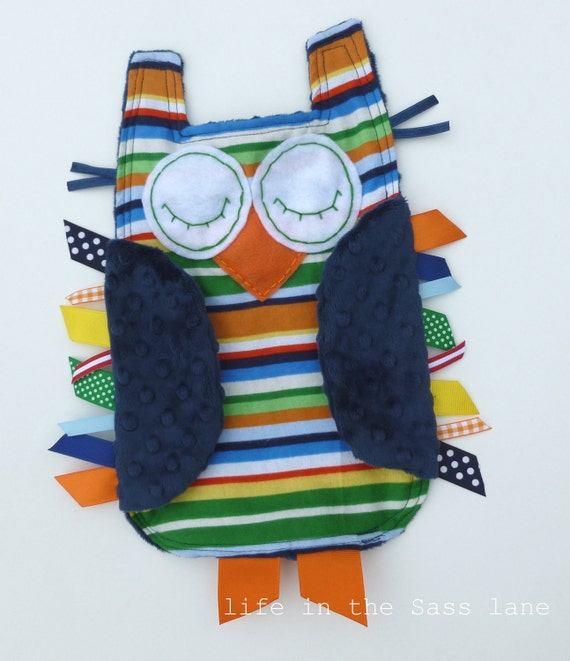 Preppy Rugby Stripes OWL Ribbon Tag Baby Blankie in Rainbow Stripes Flannel and Navy Blue Minky Blanket Lovey Lovie Baby Gift